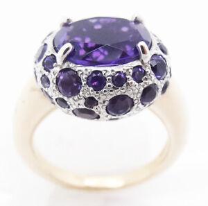 Pomellato Ring Tabou Purple Amethyst 18k Gold Silver Italian Signed (5951)