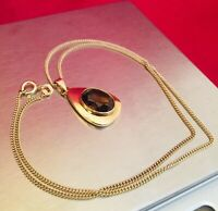 "Solid 9k 9ct Gold 16"" Chain Necklace w/ 9ct Gold Smokey Quartz Pendant Boxed."