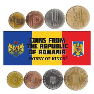 Set 4 Coins Romania 1 5 10 50 Bani Romanian Money 2005 - 2017