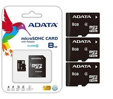 Lot of 3 Adata 8GB 8 GB 8G MicroSD MicroSDHC SDXC Class 4 TF Flash Memory Card