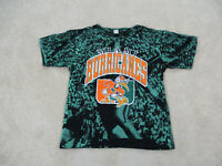 VINTAGE Miami Hurricanes Shirt Adult Medium Black All Over Print Mens 90s*