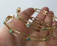 Sterling Silver Turquoise Hammered Coated Gold Large Hoop Earrings