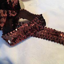 1m Of Bronze Sequinned Elastic 4cm Wide #1065