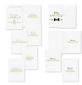 Pop the Question Bridal Party Proposal Cards - Pack of 16 - Gold Glitter MW21904