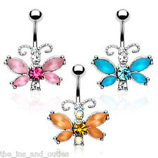 Unique Butterfly CZ Gem Belly Ring Navel Naval Aqua, Pink, Orange/Topaz