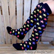 BonEful Boutique RTS NEW Cotton Knit GIRL KNEE High SOCKS Rainbow Red Black STAR