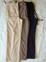 New Ladies  Ex Chainstore Navy, Beige Linen Look Trousers Size 8 10 12 14 R23