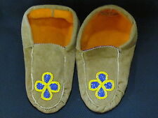 NATIVE AMERICAN  BEADED MOCCASINS, 10 INCHES,TANNED HIDE,BEADED VIOLET FLOWER