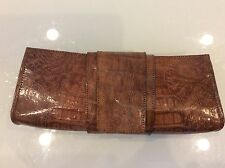BOBBY BLUE NYC WOMENS BROWN ALLIGATOR LEATHER CLUTCH BAG  $ 198.00