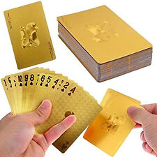 Poker Feuille D'or 54 Cartes à Jouer Jeux de carte Plastique Box Bridge Belote