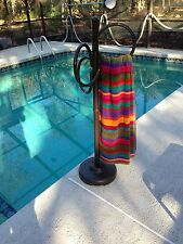 Outdoor 3 Ring Towel Rack Metallic Bronze Color Pool Patio Spa