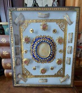 226) Nice old frame Relic Agnus Dei and 12 1st class relic St Bernard, Blaise ++