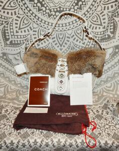 NEW Vintage Coach White Nylon Rabbit Fur Hobo Bag 9443 NWT