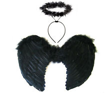 BLACK GOTHIC ANGEL FAIRY WINGS AND HALO HALLOWEEN DARK DEVIL FANCY DRESS COSTUME