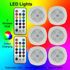Set of 3/6 RGB Color Changing LED Lights Home Wireless Remote Control Spotlights