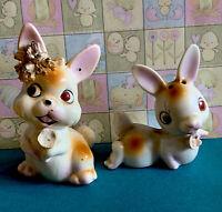 Vintage Red Eye Pink Ceramic Easter Bunny Salt and Pepper Shakers Adorable Japan