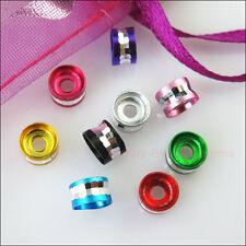 100Pcs Mixed Round Diamond Cut Aluminum Rondelle Spacer Beads 6mm