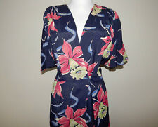 Vintage 40s Hollywood glam rayon Hawaiian orchid print night dressing gown robe