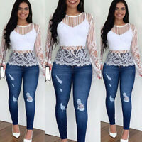 ❤️ Women's Sexy Lace Long Sleeve Tops Blouse Casual Slim Fit Mesh Sheer T-Shirt