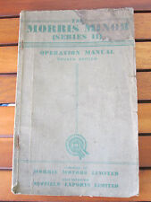 THE MORRIS MINOR SERIES II OPERATION MANUAL 4TH EDITION 78 PAGE BOOKLET