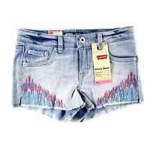 Levi's Girl Blue Stretch Adjustable Waist Stitching Denim Shorty Shorts Sz 10 SJ
