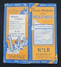 Carte MICHELIN n°1B BELGIQUE ANVERS ROTTERDAM 1927 map mapa Bibendum pneu guide