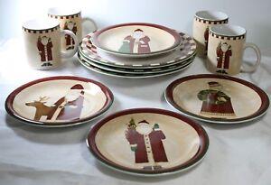 Zak FOLK ART SANTAS Christmas Dinnerware Choose 1 or more Debbie Mumm Plates Mug
