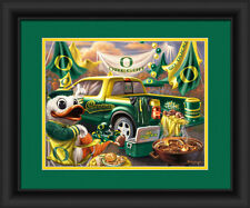 Oregon Ducks Framed Tailgate Print - Poster Wood Wall Sign Man Cave