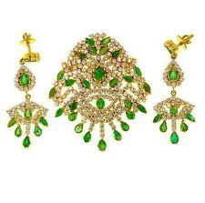 NATURAL PRECIOUS EMERALD AND CZ JEWELRY EARRINGS  IN 92.5 STERLING SILVER