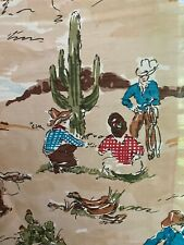 New listing Vintage western cowboy 1940's 1950's drapes curtains 2 panels made in Usa
