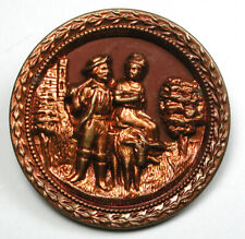 """Antique Red Tinted Button Man & Woman on Donkey Scene - 1 & 5/16""""  1890s"""