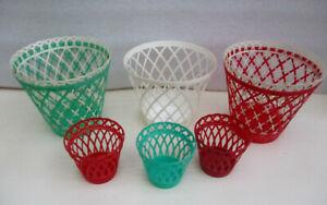 Six cache pot plastique -vintage- blanc rouge vert