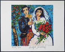 Raya SORKINE : MARIAGE AU BOUQUET DE ROSE # LITHOGRAPHIE SIGNEE AU CRAYON # RARE