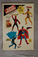 Super Heros Toy advertisement promotional poster 1970s Superman Spiderman Tarzan