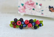 Berry Hair Barrette HANDCRAFTED Fashion polymer clay Raspberry Party HANDMADE