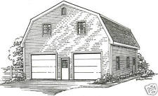 30 x 36 2 Car Gambrel Garage Building Plans w/Loft