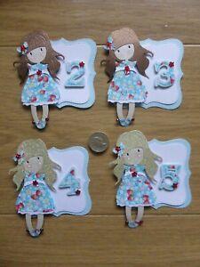 4 cute Girls 2 3 4 & 5 pretty little strawberry handmade Birthday Card Toppers