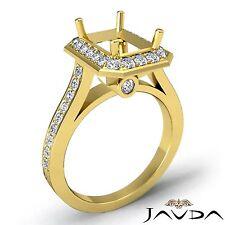 18k Yellow Gold Diamond Engagement Emerald Semi Mount Halo Bezel Set 0.7Ct Ring