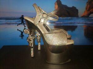 "PLEASER Revolver-709G 7"" Heel Ankle-Strap Sandal Size 8"