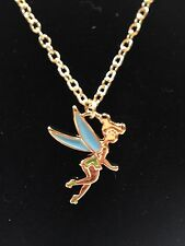 Disney Tinkerbell Pendant Charm Necklace In Gold With Green/Teal Enamel Accent