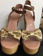 Valentino Red Platform Shoe Gold Glitter Bow Wood Heel Ankle Strap Size 39 1/2