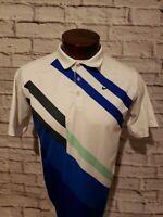Nike Golf Mens Large White Blue Striped Short Sleeve Golf Polo Shirt