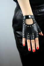 Womens Black Punk Gothic Rock Metal Rivet Fingerless Leather Gloves