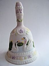 """Bell Swan Pair Porcelain China Bird White Lavender 4.25"""" Tall Price Porducts New"""