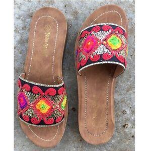 Red Black Boho Embellished Embroidered Applique Slide Slip On Sandals Flats