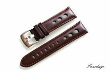 Azzuro Deluxe Dark Brown Leather Wrist Watch Strap Model Perforated Band 22 mm