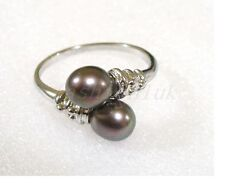 Black or White Fresh Water two Pearl 18KGP Free Open Size Ring K L M N O P Q R