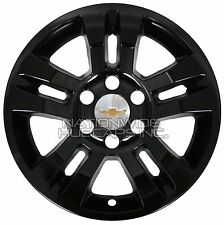 "4 GLOSS BLACK 14-17 SILVERADO TAHOE 18"" Wheel Skins Hub Caps Aluminum Rim Covers"