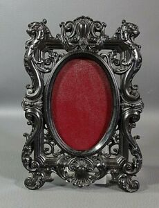 19c.Antique Carved Gutta Percha Oval Photo Picture Wall Frame Lions Head Scrolls