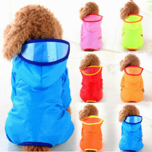 Hooded Dog Raincoats Poncho Jumpsuit Waterproof Pet Clothes Puppy Cat Jacket New